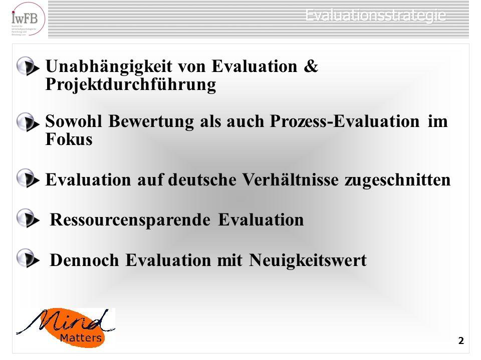 Evaluationsstrategie 2 Unabhängigkeit von Evaluation & Projektdurchführung Sowohl Bewertung als auch Prozess-Evaluation im Fokus Evaluation auf deutsche Verhältnisse zugeschnitten Ressourcensparende Evaluation Dennoch Evaluation mit Neuigkeitswert