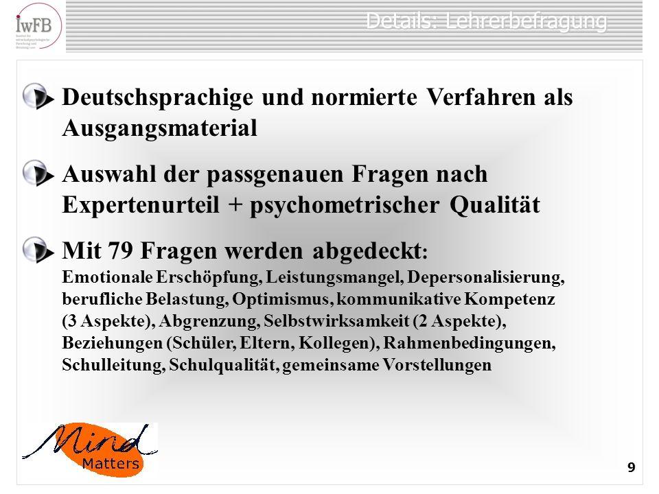 Details: Lehrerbefragung 9 Deutschsprachige und normierte Verfahren als Ausgangsmaterial Auswahl der passgenauen Fragen nach Expertenurteil + psychome