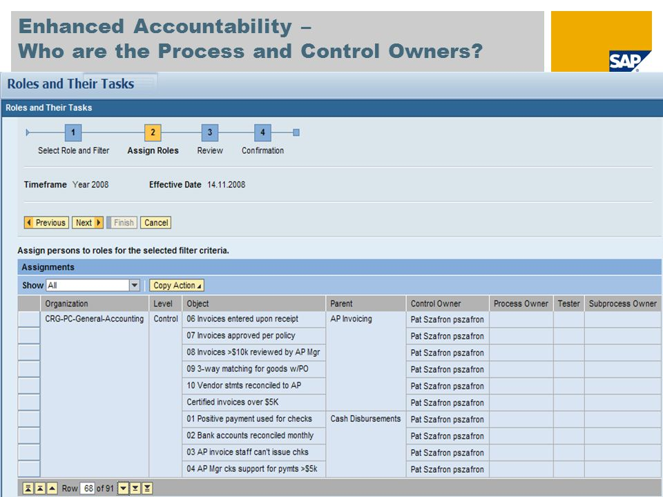© SAP 2008 / Page 10 Enhanced Accountability – Who are the Process and Control Owners?