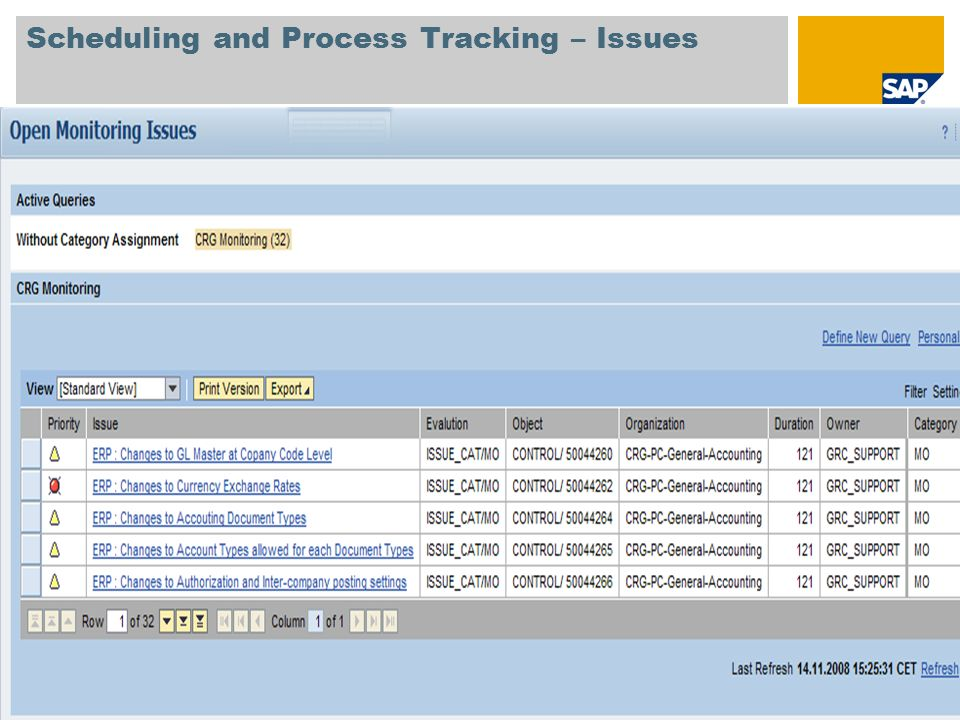 © SAP 2008 / Page 16 Scheduling and Process Tracking – Issues