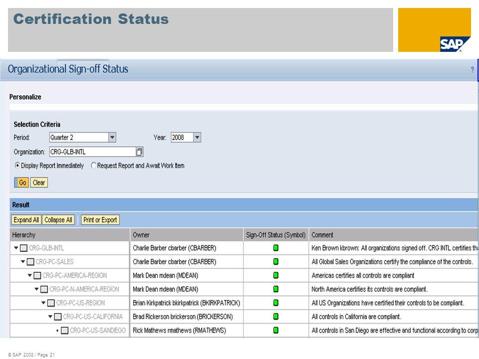 © SAP 2008 / Page 21 Certification Status