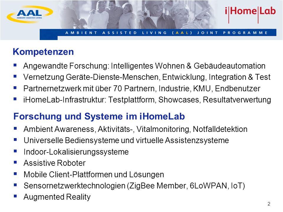 2 Kompetenzen Angewandte Forschung: Intelligentes Wohnen & Gebäudeautomation Vernetzung Geräte-Dienste-Menschen, Entwicklung, Integration & Test Partn