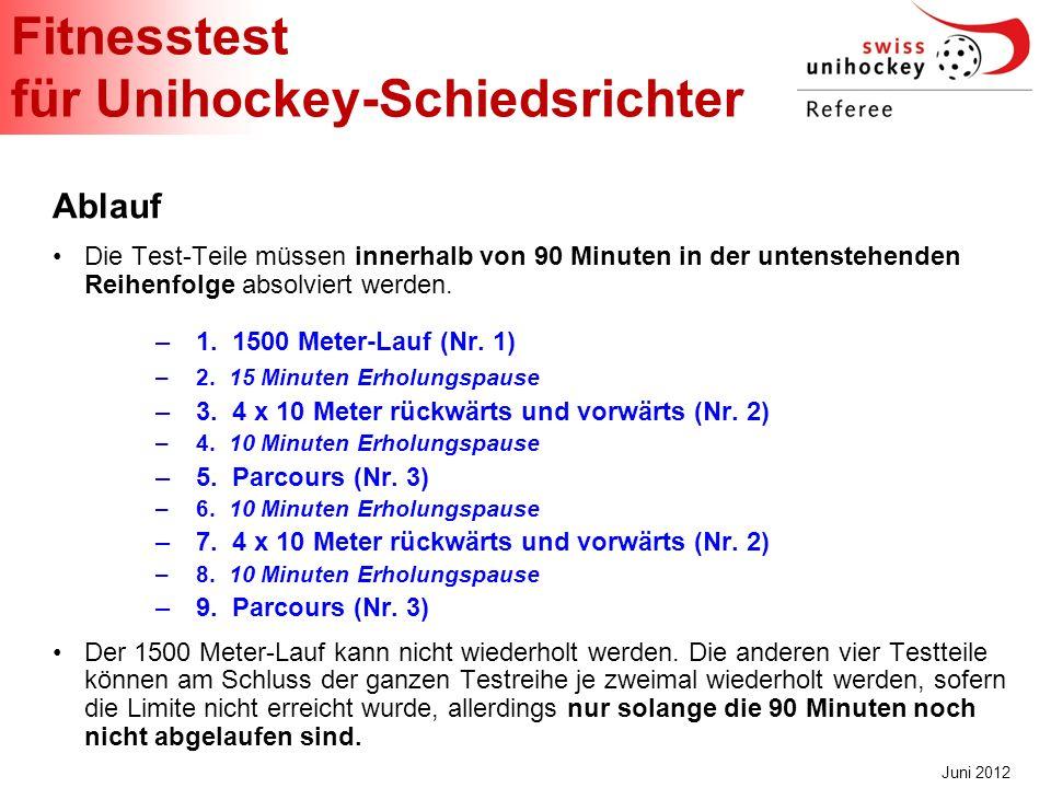 Fitnesstest für Unihockey-Schiedsrichter Juni 2012 Ablauf Die Test-Teile müssen innerhalb von 90 Minuten in der untenstehenden Reihenfolge absolviert