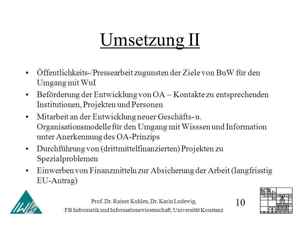 Umsetzung II Öffentlichkeits-/Pressearbeit zugunsten der Ziele von BuW für den Umgang mit WuI Beförderung der Entwicklung von OA – Kontakte zu entsprechenden Institutionen, Projekten und Personen Mitarbeit an der Entwicklung neuer Geschäfts- u.