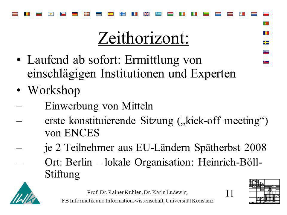 Zeithorizont: Laufend ab sofort: Ermittlung von einschlägigen Institutionen und Experten Workshop –Einwerbung von Mitteln –erste konstituierende Sitzung (kick-off meeting) von ENCES –je 2 Teilnehmer aus EU-Ländern Spätherbst 2008 –Ort: Berlin – lokale Organisation: Heinrich-Böll- Stiftung Prof.