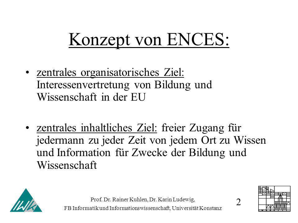 Konzept von ENCES: zentrales organisatorisches Ziel: Interessenvertretung von Bildung und Wissenschaft in der EU zentrales inhaltliches Ziel: freier Zugang für jedermann zu jeder Zeit von jedem Ort zu Wissen und Information für Zwecke der Bildung und Wissenschaft Prof.