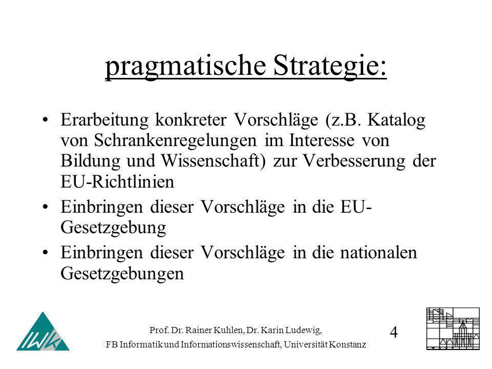 pragmatische Strategie: Erarbeitung konkreter Vorschläge (z.B. Katalog von Schrankenregelungen im Interesse von Bildung und Wissenschaft) zur Verbesse