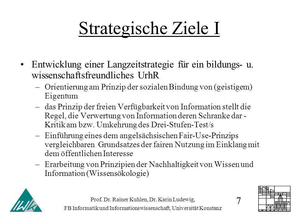 Strategische Ziele I Entwicklung einer Langzeitstrategie für ein bildungs- u. wissenschaftsfreundliches UrhR –Orientierung am Prinzip der sozialen Bin