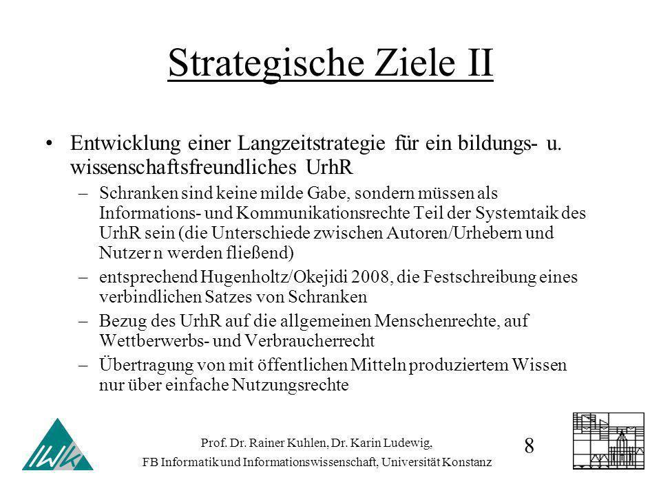Strategische Ziele II Entwicklung einer Langzeitstrategie für ein bildungs- u. wissenschaftsfreundliches UrhR –Schranken sind keine milde Gabe, sonder