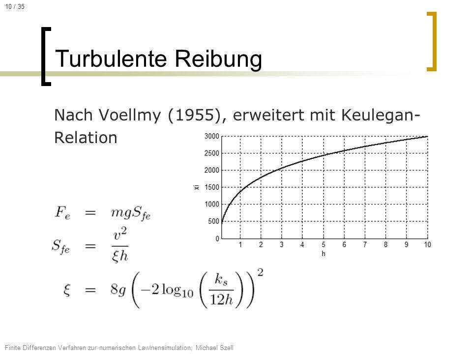 Nach Voellmy (1955), erweitert mit Keulegan- Relation Turbulente Reibung Finite Differenzen Verfahren zur numerischen Lawinensimulation, Michael Szell