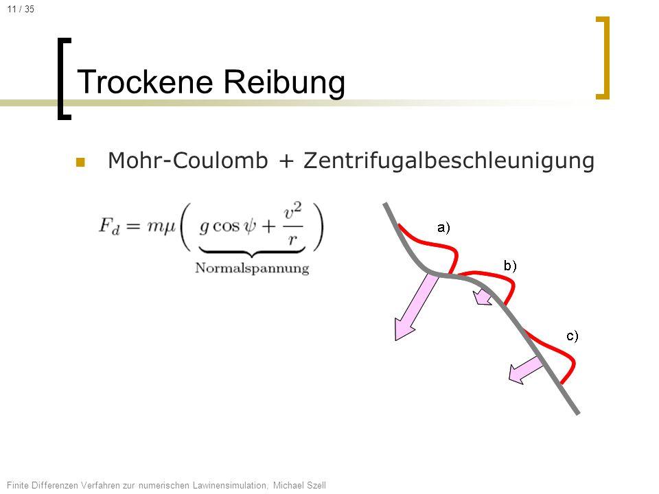 Mohr-Coulomb + Zentrifugalbeschleunigung Trockene Reibung Finite Differenzen Verfahren zur numerischen Lawinensimulation, Michael Szell 11 / 35