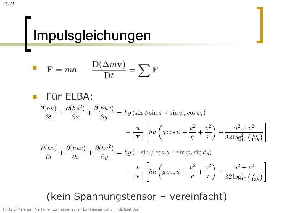 Für ELBA: (kein Spannungstensor – vereinfacht) Impulsgleichungen Finite Differenzen Verfahren zur numerischen Lawinensimulation, Michael Szell 13 / 35