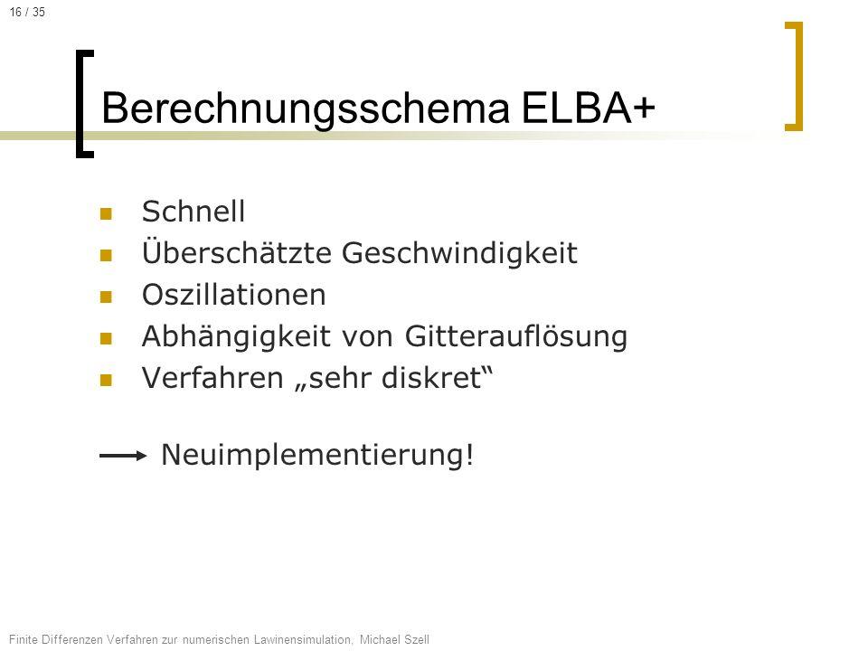 Schnell Überschätzte Geschwindigkeit Oszillationen Abhängigkeit von Gitterauflösung Verfahren sehr diskret Neuimplementierung! Berechnungsschema ELBA+