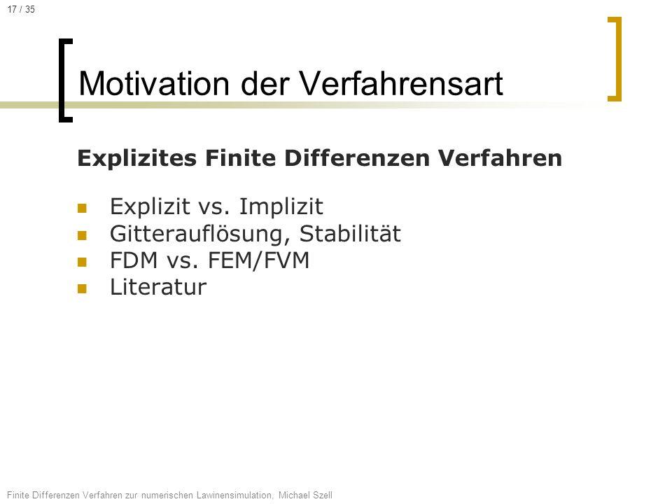 Explizites Finite Differenzen Verfahren Explizit vs. Implizit Gitterauflösung, Stabilität FDM vs. FEM/FVM Literatur Motivation der Verfahrensart Finit