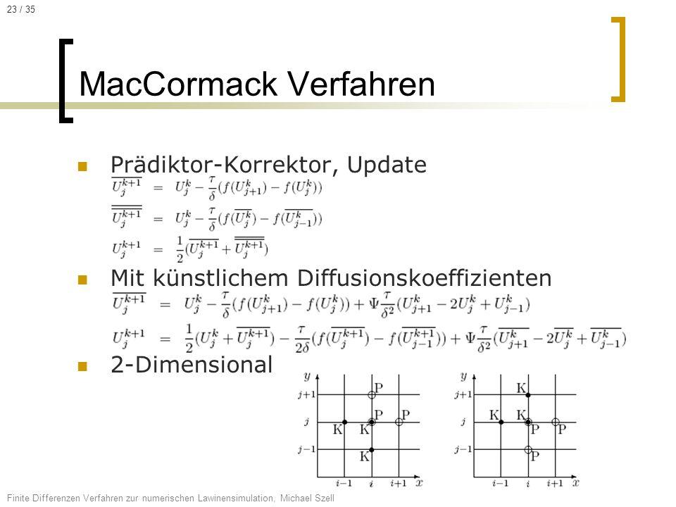 Prädiktor-Korrektor, Update Mit künstlichem Diffusionskoeffizienten 2-Dimensional MacCormack Verfahren Finite Differenzen Verfahren zur numerischen La