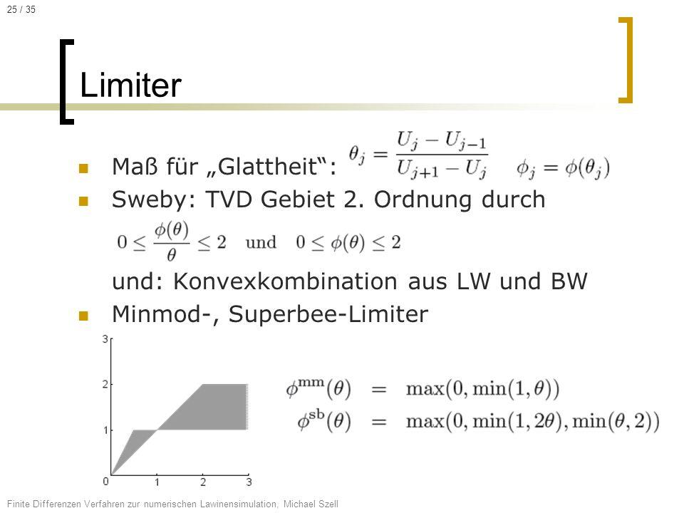 Maß für Glattheit: Sweby: TVD Gebiet 2. Ordnung durch und: Konvexkombination aus LW und BW Minmod-, Superbee-Limiter Limiter Finite Differenzen Verfah