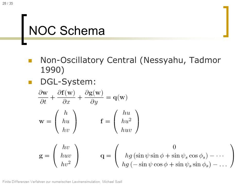 Non-Oscillatory Central (Nessyahu, Tadmor 1990) DGL-System: NOC Schema Finite Differenzen Verfahren zur numerischen Lawinensimulation, Michael Szell 2