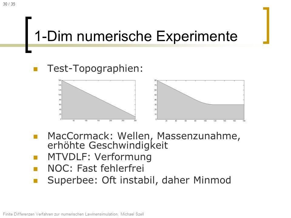 Test-Topographien: MacCormack: Wellen, Massenzunahme, erhöhte Geschwindigkeit MTVDLF: Verformung NOC: Fast fehlerfrei Superbee: Oft instabil, daher Mi