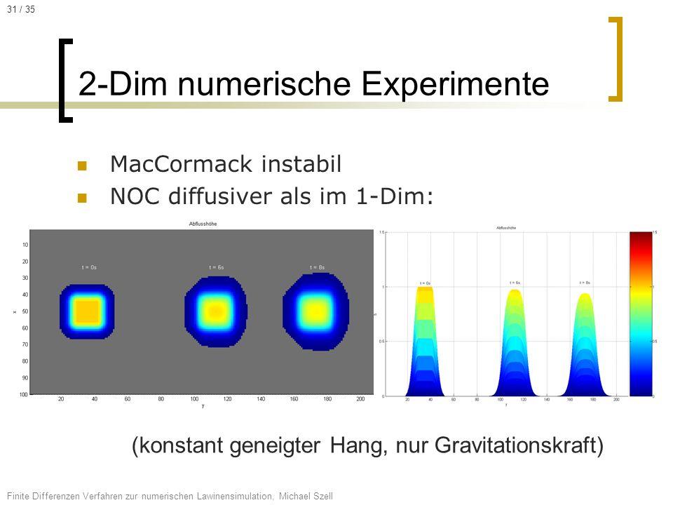MacCormack instabil NOC diffusiver als im 1-Dim: 2-Dim numerische Experimente Finite Differenzen Verfahren zur numerischen Lawinensimulation, Michael