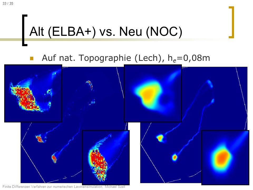 Auf nat. Topographie (Lech), h e =0,08m Alt (ELBA+) vs. Neu (NOC) Finite Differenzen Verfahren zur numerischen Lawinensimulation, Michael Szell 33 / 3