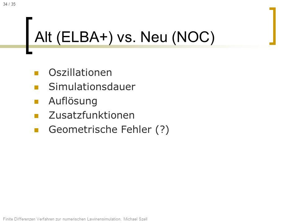 Oszillationen Simulationsdauer Auflösung Zusatzfunktionen Geometrische Fehler (?) Alt (ELBA+) vs. Neu (NOC) Finite Differenzen Verfahren zur numerisch
