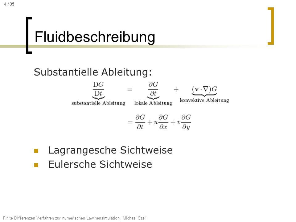 Substantielle Ableitung: Lagrangesche Sichtweise Eulersche Sichtweise Fluidbeschreibung Finite Differenzen Verfahren zur numerischen Lawinensimulation