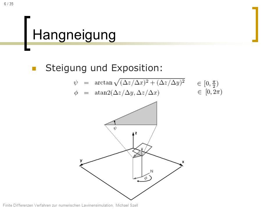 Steigung und Exposition: Hangneigung Finite Differenzen Verfahren zur numerischen Lawinensimulation, Michael Szell 6 / 35