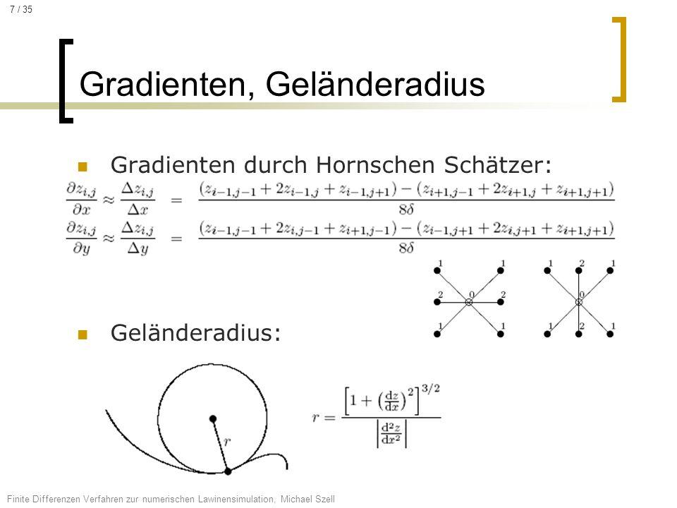 Gradienten durch Hornschen Schätzer: Geländeradius: Gradienten, Geländeradius Finite Differenzen Verfahren zur numerischen Lawinensimulation, Michael