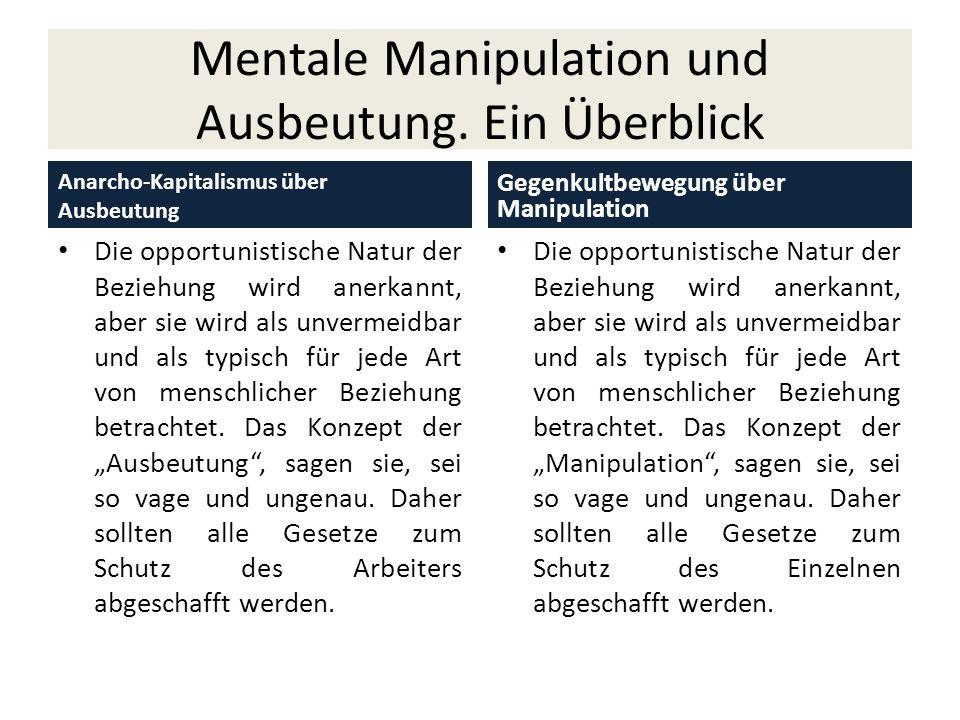 Mentale Manipulation und Ausbeutung. Ein Überblick Anarcho-Kapitalismus über Ausbeutung Die opportunistische Natur der Beziehung wird anerkannt, aber