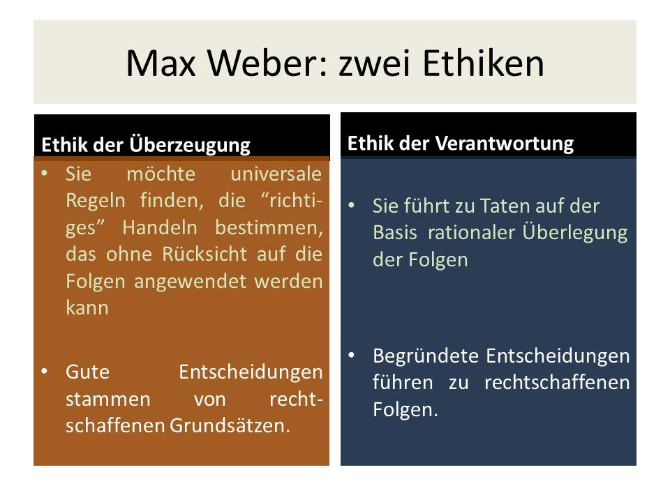 Max Weber: zwei Ethiken Ethik der Überzeugung Sie möchte universale Regeln finden, die richti- ges Handeln bestimmen, das ohne Rücksicht auf die Folge