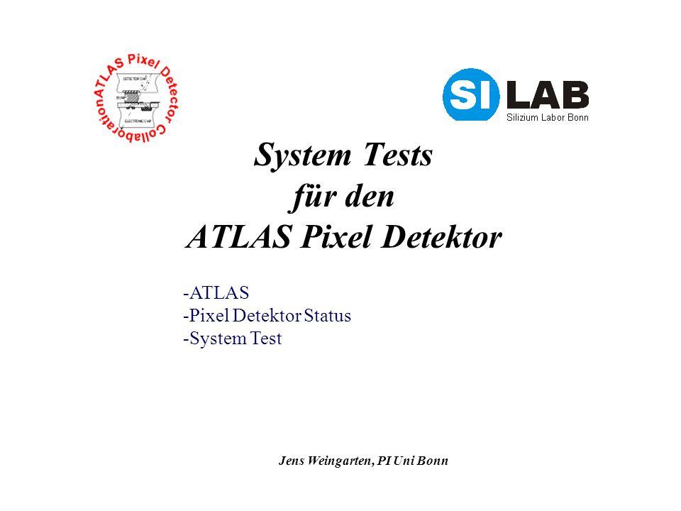 Jens Weingarten, PI Uni Bonn System Tests für den ATLAS Pixel Detektor -ATLAS -Pixel Detektor Status -System Test