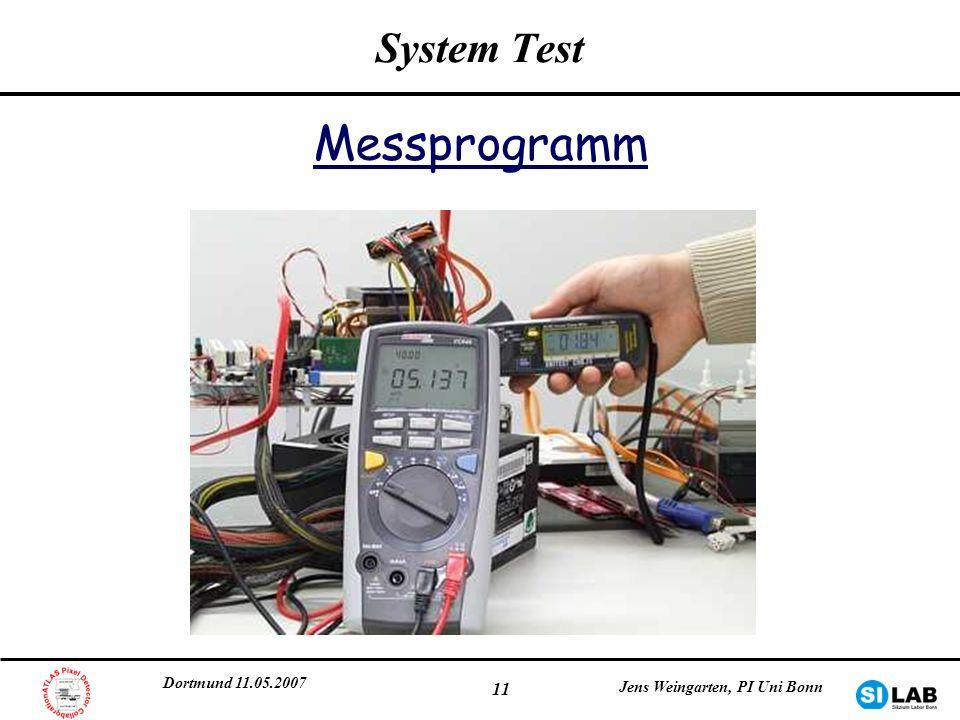 Dortmund 11.05.2007 Jens Weingarten, PI Uni Bonn 11 System Test Messprogramm