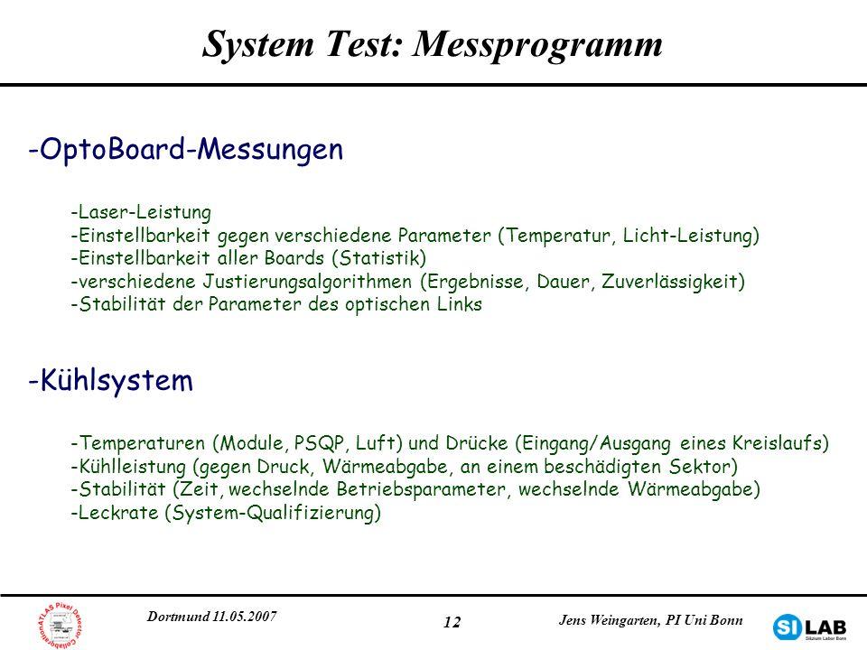 Dortmund 11.05.2007 Jens Weingarten, PI Uni Bonn 12 System Test: Messprogramm -OptoBoard-Messungen -Laser-Leistung -Einstellbarkeit gegen verschiedene