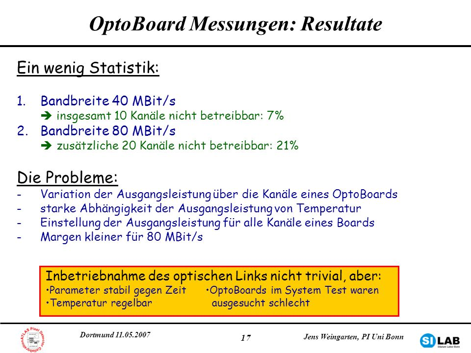 Dortmund 11.05.2007 Jens Weingarten, PI Uni Bonn 17 OptoBoard Messungen: Resultate Ein wenig Statistik: 1.Bandbreite 40 MBit/s insgesamt 10 Kanäle nic