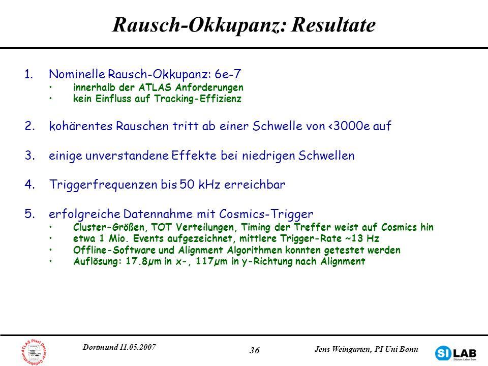 Dortmund 11.05.2007 Jens Weingarten, PI Uni Bonn 36 Rausch-Okkupanz: Resultate 1.Nominelle Rausch-Okkupanz: 6e-7 innerhalb der ATLAS Anforderungen kei