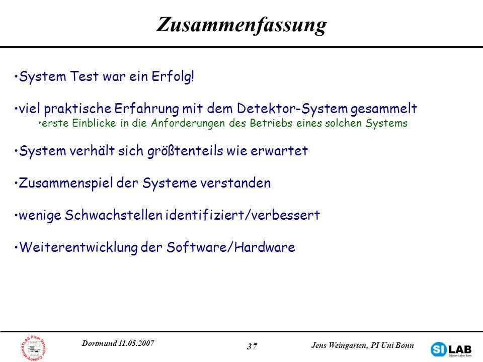 Dortmund 11.05.2007 Jens Weingarten, PI Uni Bonn 37 Zusammenfassung System Test war ein Erfolg! viel praktische Erfahrung mit dem Detektor-System gesa