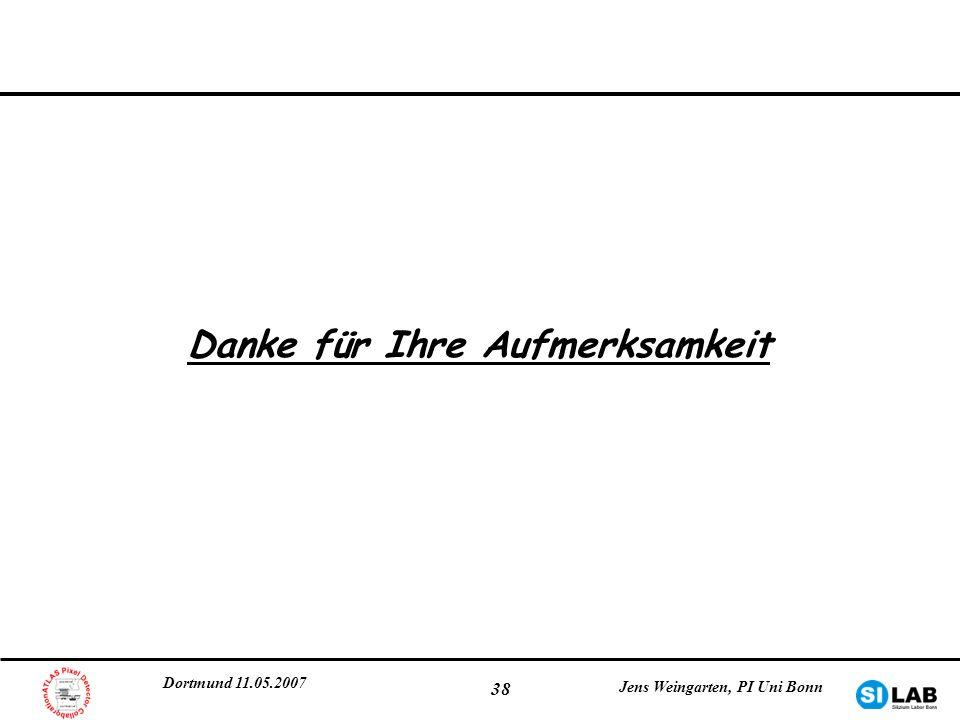 Dortmund 11.05.2007 Jens Weingarten, PI Uni Bonn 38 Danke für Ihre Aufmerksamkeit