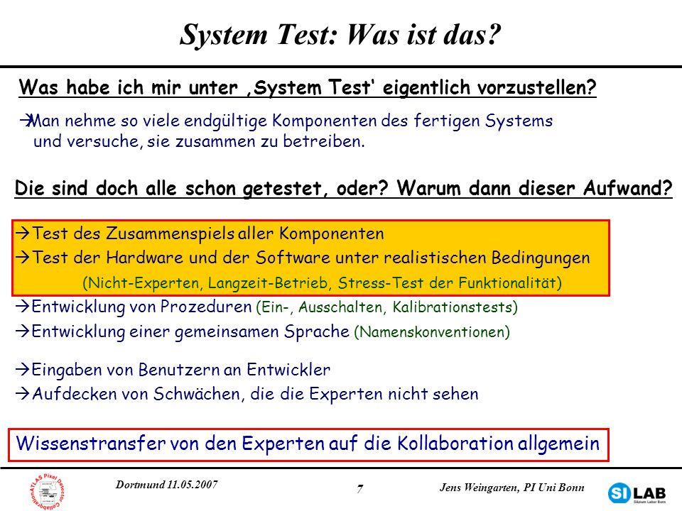 Dortmund 11.05.2007 Jens Weingarten, PI Uni Bonn 18 Das Kühlsystem Erste Erfahrungen: -Zwei-Phasen Kühlsystem -Betrieb -Überwachung -Stabilität -Leckrate -Detektor-Strukturen an diesem System -Modultemperaturen (< -7°C, Annealing) -Abkühlzeiten
