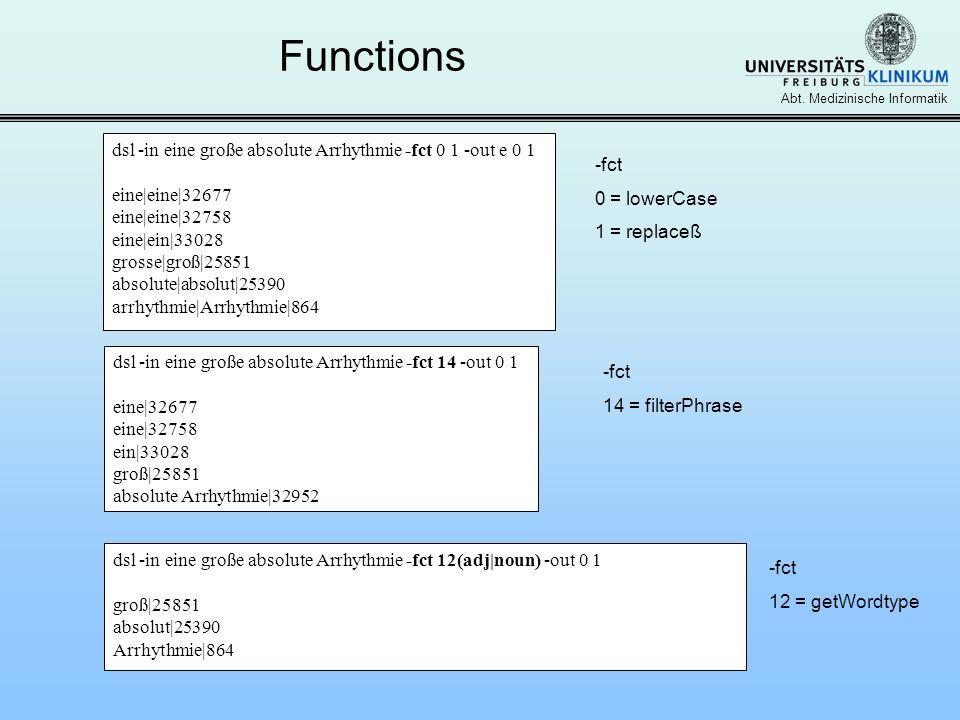 Abt. Medizinische Informatik Functions dsl -in eine große absolute Arrhythmie -fct 0 1 -out e 0 1 eine|eine|32677 eine|eine|32758 eine|ein|33028 gross