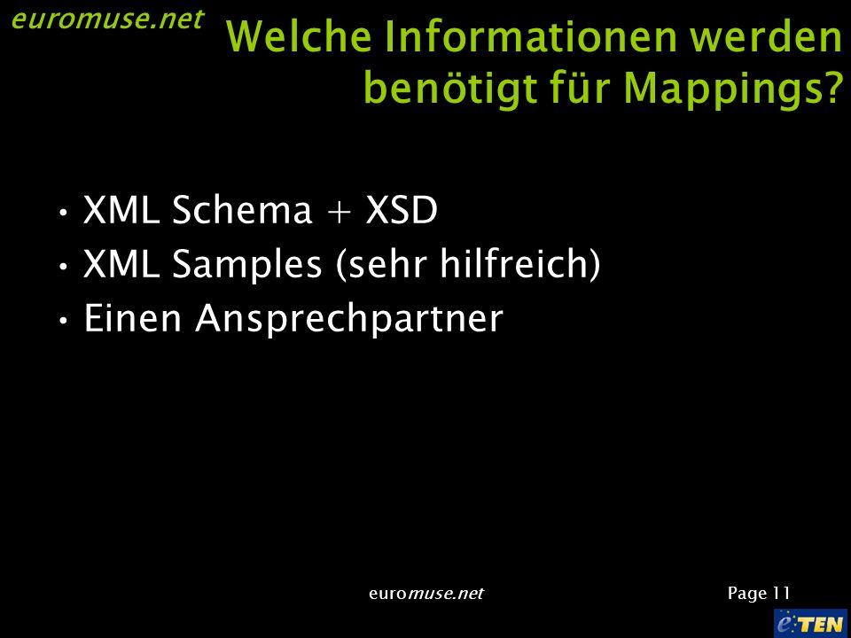 euromuse.net Page 11 euromuse.net Welche Informationen werden benötigt für Mappings.