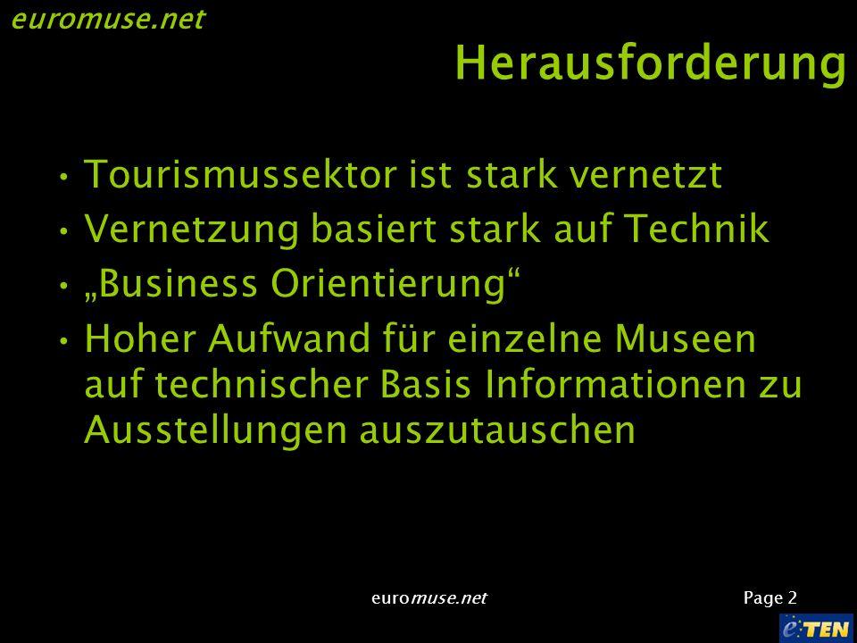 euromuse.net Page 2 euromuse.net Herausforderung Tourismussektor ist stark vernetzt Vernetzung basiert stark auf Technik Business Orientierung Hoher Aufwand für einzelne Museen auf technischer Basis Informationen zu Ausstellungen auszutauschen