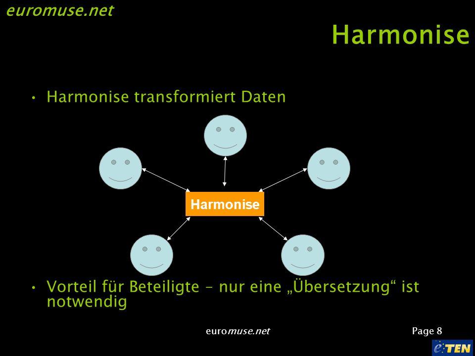 euromuse.net Page 8 euromuse.net Harmonise Harmonise transformiert Daten Vorteil für Beteiligte – nur eine Übersetzung ist notwendig Harmonise