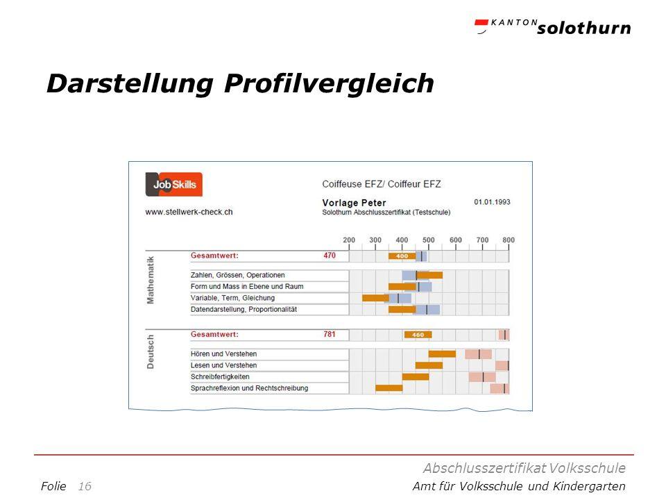 FolieAmt für Volksschule und Kindergarten Darstellung Profilvergleich Abschlusszertifikat Volksschule 16