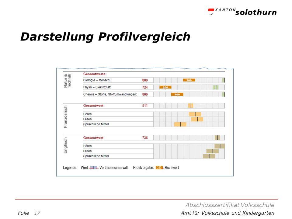 FolieAmt für Volksschule und Kindergarten Darstellung Profilvergleich Abschlusszertifikat Volksschule 17