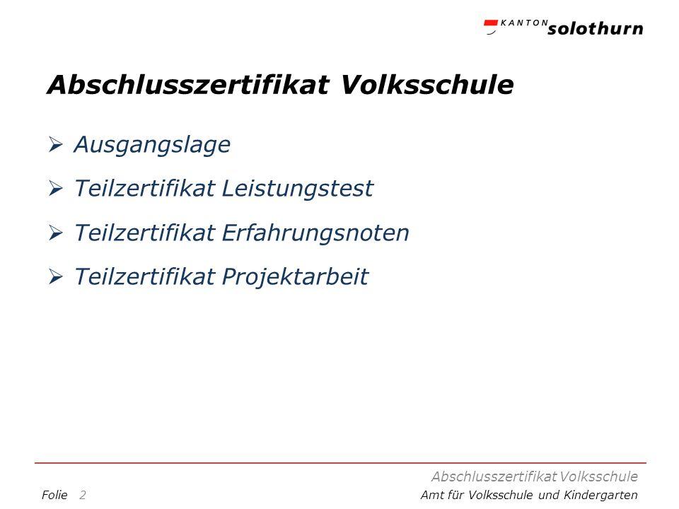 FolieAmt für Volksschule und Kindergarten Abschlusszertifikat Volksschule Ausgangslage Teilzertifikat Leistungstest Teilzertifikat Erfahrungsnoten Tei
