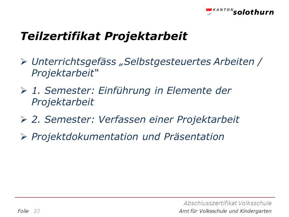 FolieAmt für Volksschule und Kindergarten Teilzertifikat Projektarbeit Unterrichtsgefäss Selbstgesteuertes Arbeiten / Projektarbeit 1. Semester: Einfü