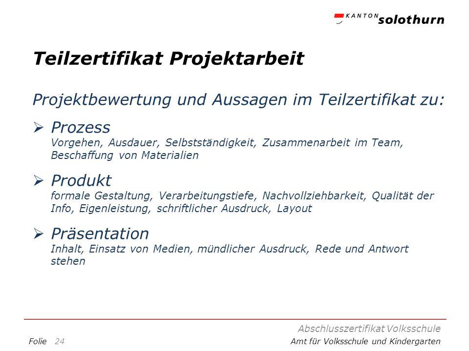 FolieAmt für Volksschule und Kindergarten Teilzertifikat Projektarbeit Projektbewertung und Aussagen im Teilzertifikat zu: Prozess Vorgehen, Ausdauer,