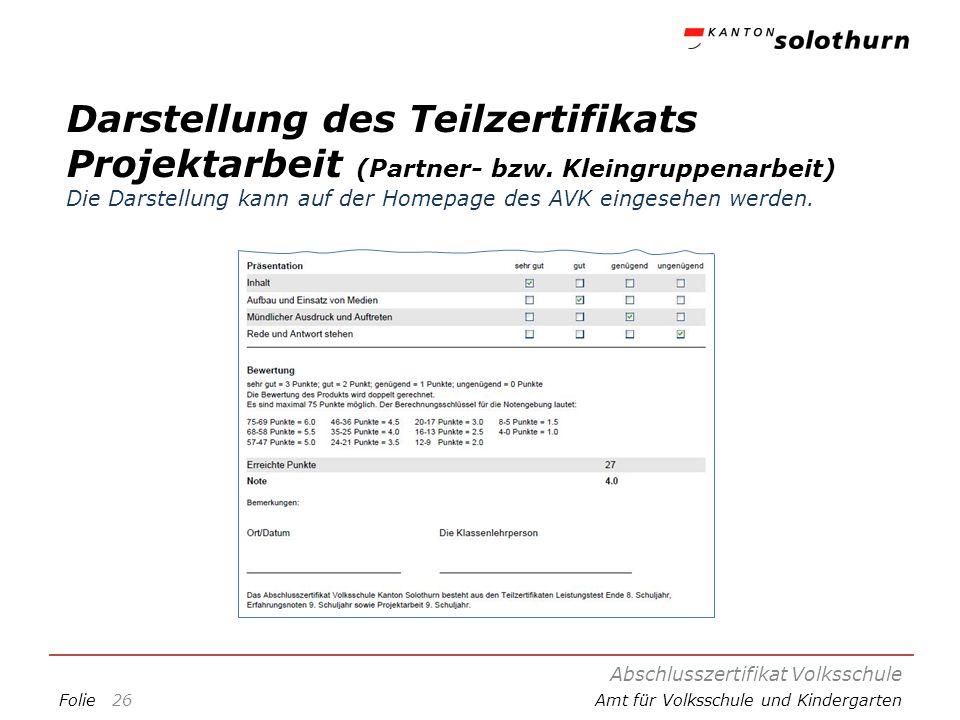 FolieAmt für Volksschule und Kindergarten Darstellung des Teilzertifikats Projektarbeit (Partner- bzw. Kleingruppenarbeit) Die Darstellung kann auf de