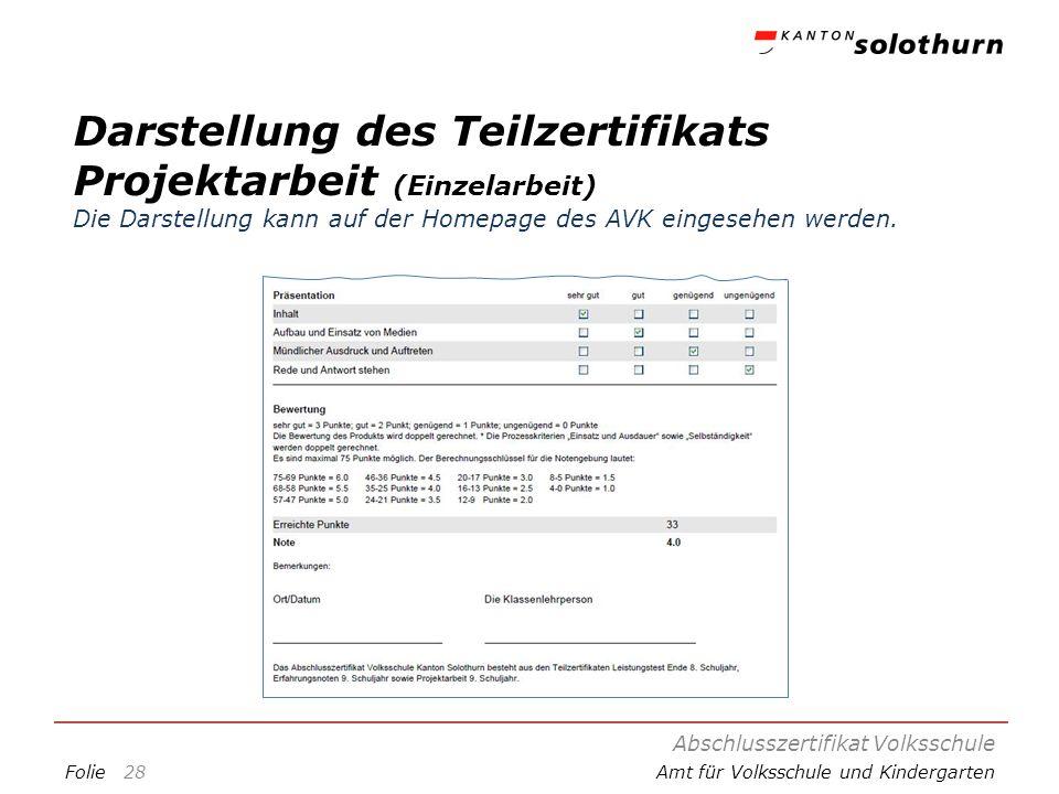 FolieAmt für Volksschule und Kindergarten Darstellung des Teilzertifikats Projektarbeit (Einzelarbeit) Die Darstellung kann auf der Homepage des AVK e