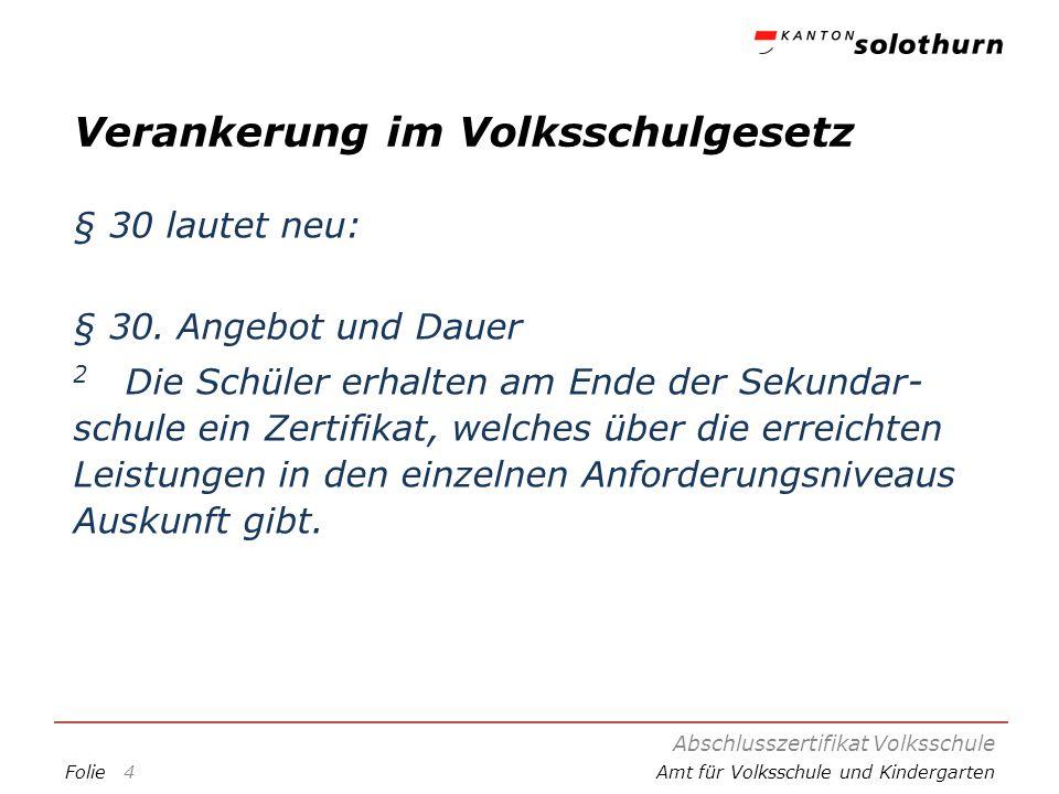 FolieAmt für Volksschule und Kindergarten Darstellung des Teilzertifikats Leistungstest Die Darstellung kann auf der Homepage des AVK eingesehen werden.